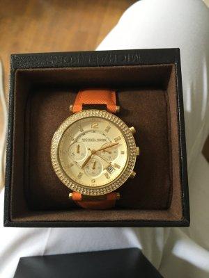 Michael Kors goldene Uhr mit Lederband