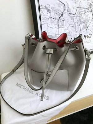 Michael Kors Greenwich LG Bucket Bag Pearl Grey/Coral