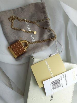 Michael Kors Halskette Kette mit Schloss Lock Gold, braunes Leder NEU mit Etikett
