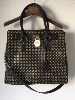 Michael Kors Bolso barrel negro-color oro Cuero