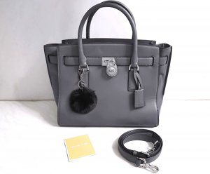 Michael Kors Hamilton Traveler LG Heather Grey Dunkelgrau + Pom ♥