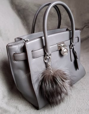 Michael Kors Hamilton Traveller LG Heather Grey+Pom ♥