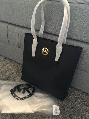 Michael kors Handtasche clutch Tasche schwarz Gold jet set travel black Leder