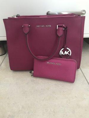 Michael Kors Handtasche Sutton Deep Pink Leder und Portmonee
