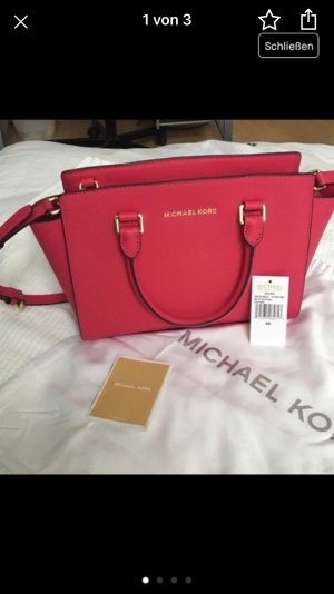 Michael Kors Carry Bag magenta-gold-colored leather