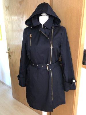 Michael Kors Herbst-Trenchcoat Gr. L Dunkelblau mit Kapuze wNEU