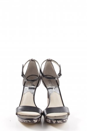 Michael Kors High Heels hellgrau-schwarz Animalmuster Casual-Look