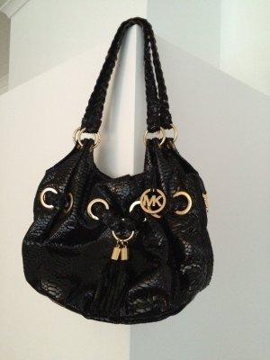 Michael Kors Hobo Bag, schwarz, Reptilienlook