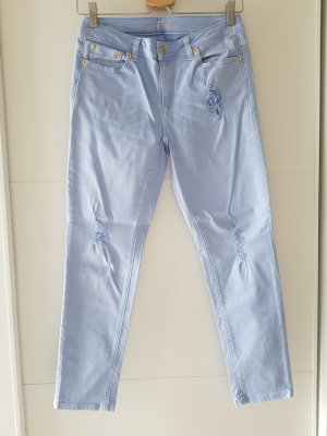 MICHAEL KORS Izzy Cropped Skinny, Gr.2 (34), Destroyed-Look, himmelblau,