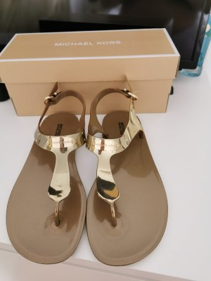 Michael Kors High-Heeled Toe-Post Sandals gold-colored