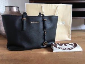 Michael Kors Jet Set Medium Shopper, schwarz/gold, Saffiano Leder