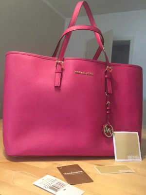 Michael Kors Jet Set Raspberry MD Multifunction tote leather