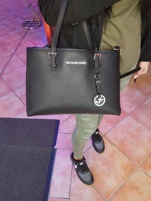 Michael Kors Jet Set Travel MD EW Tote Bag Leather Black