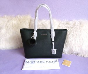 Michael Kors Jet Set Travel MD Multifunction Schwarz Silber + Pom Pom