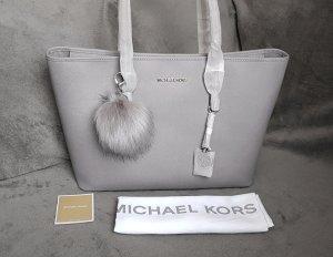 Michael Kors Jet Set Travel MD Multifunction Tote Pearl Grey+Pom♥
