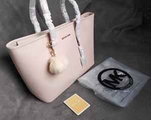 Michael Kors Jet Set Travel MD Multifunction Tote Soft Pink+Pom ♥