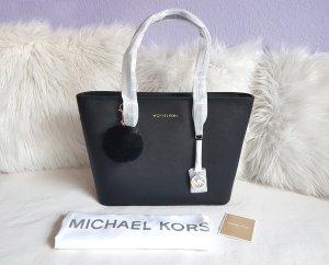 Michael Kors Jet Set Travel TZ Tote Gold Black + Kunstfellanhänger