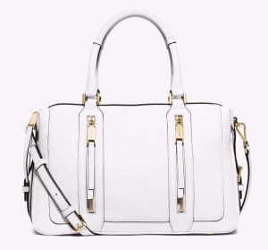 Michael Kors Julia Large Leather Satchel Optic White Tasche Leder