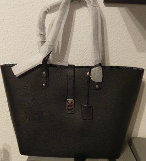 Michael Kors Karson Large Carryall Tote Shopper Tasche schwarz silber Leder