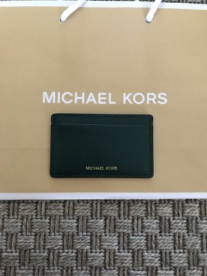 Michael Kors Kartenetui Leder Etui Geldbeutel dunkelgrün grün gold Reiseetui