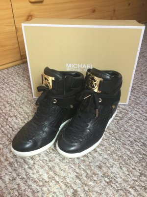 ⚜️Michael Kors Keil Sneaker Gr.40 schwarz gold Leder Boots⚜️