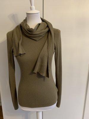 MICHAEL KORS khakigrünes Oberteil mit abnehmbarem Schal