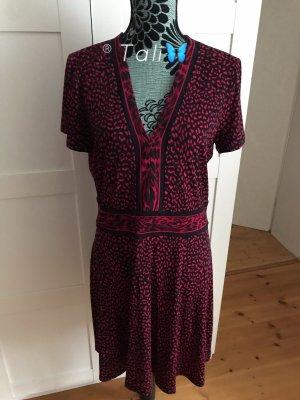 Michael Kors Kleid  gepunktet Schwarz Rot Raspberry  L 10 40