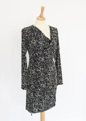 Michael Kors Kleid mit Wasserfallauaschnitt M schwarz weiß