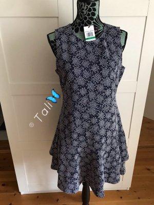 Michael Kors Kleid  Navy Blau Weiss Floral Blumen  L 40 10