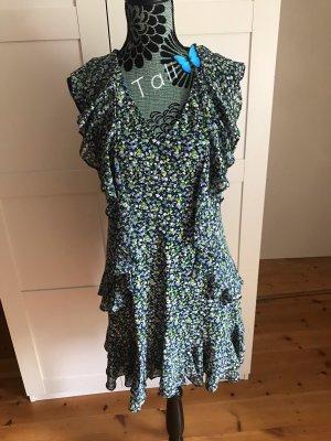 Michael Kors Kleid Rüschen  Blau Grün Weiss Floral Blumen  M 38 8