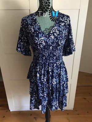 Michael Kors Kleid Rüschen Floral Blumen  Blau Weiss  M 38 8