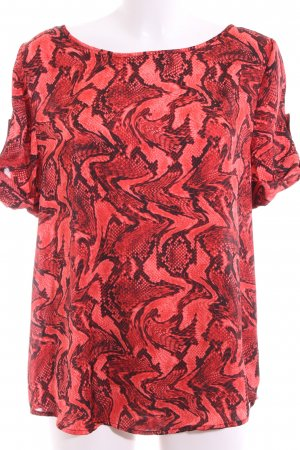 Michael Kors Kurzarm-Bluse rot-schwarz Animalmuster Business-Look