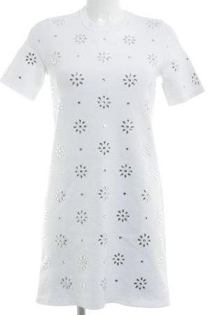 Michael Kors Kurzarmkleid weiß-silberfarben florales Muster Elegant