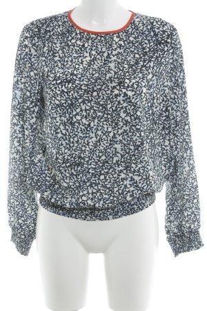 Michael Kors Langarm-Bluse dunkelblau-weiß abstraktes Muster Casual-Look
