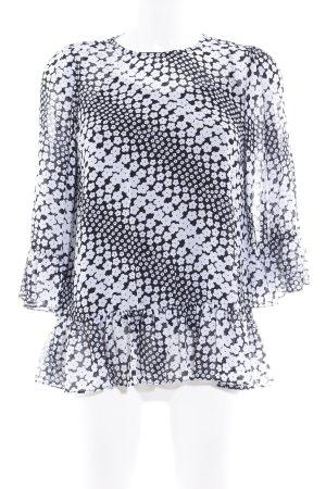 Michael Kors Langarm-Bluse schwarz-weiß Blumenmuster Elegant