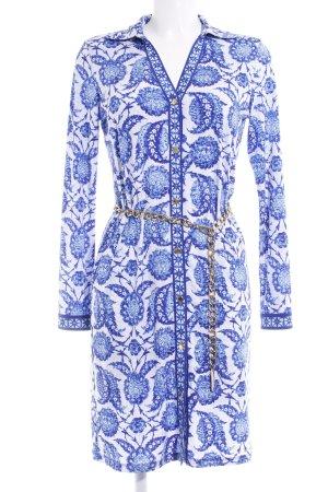 Michael Kors Langarmkleid blau-weiß abstraktes Muster Elegant
