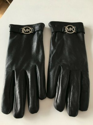 Michael Kors Leather Gloves black-silver-colored leather