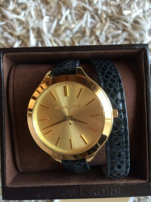 Michael Kors Watch With Leather Strap black-gold-colored leather