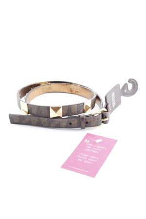 Michael Kors Cinturón de cuero marrón oscuro-color oro Patrón monograma