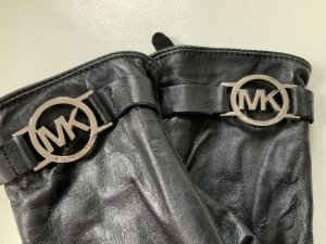 Michael Kors Gloves black-silver-colored leather