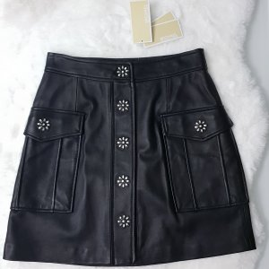 Michael Kors Leather Skirt black-silver-colored