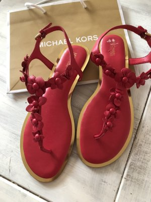 Michael Kors High-Heeled Toe-Post Sandals red-raspberry-red leather
