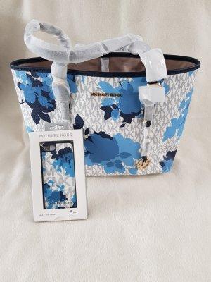 Michael Kors MD carryall Shopper navy/floral plus Handyhülle