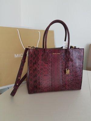 Michael Kors Mercer LG Tasche Handtasche mulberry Bordeaux Snake Skin Schlangenlederhaut NEU
