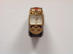 Michael Kors Watch With Leather Strap multicolored stainless steel