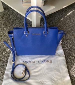 Michael Kors MK selma electric blue blau gold Handtasche Umhängetasche