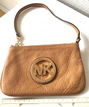 Michael Kors MK weiches Leder Tasche Clutch Purse (oder Armband/Wristlet) Beige Gold, Kreditkartenfach 130€