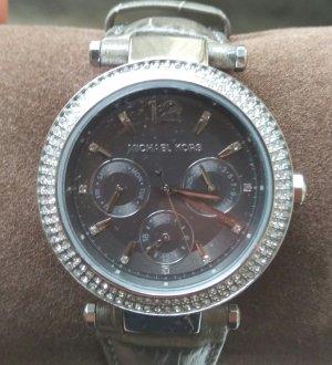 michael kors mk2544 damenuhr armbanduhr leder silber zirkon