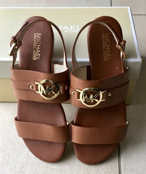Michael Kors Molly Leather Flat Sandal, Luggage