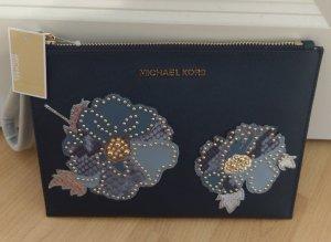 Michael Kors neu clutch jet set travel navy blau leder flower